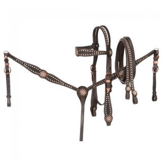 Tough-1 Show Set 3 Piece Bridle Rein Breast Collar Rowel Dark