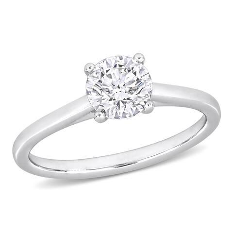 Miadora White Platinum 1ct TDW Certified Diamond Solitaire Engagement Ring (GIA)