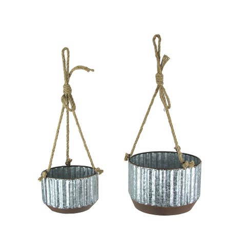 Farmhouse Style Corrugated Galvanized Metal and Rope Hanging Planters Set of 2 - 6.75 X 9 X 9 inches