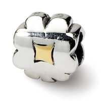 Sterling Silver & 14k Reflections Clover Bead (4mm Diameter Hole)