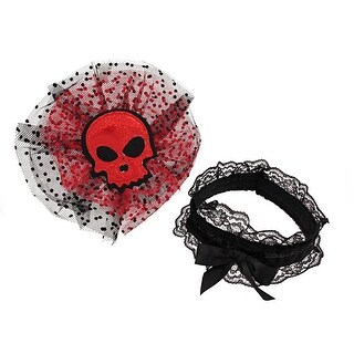 Gothic Red Glitter Skull Tulle Headpiece W/ Black Lace Choker