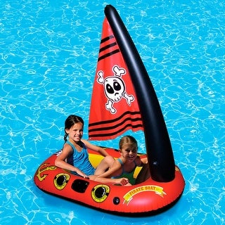 "57"" Red, Yellow and Black Inflatable Aqua Fun Pirate Boat Swimming Pool Float with Jolly Roger Sail - Red"