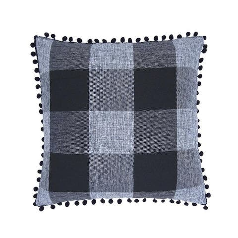 "Buffalo Check Pillow Covers Black and White Plaid Pom Pom Decorative Throw Pillow Covers 18"" x 18"""