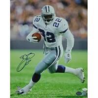 Emmitt Smith Autographed Dallas Cowboys 16x20 Photo White Solo JSA