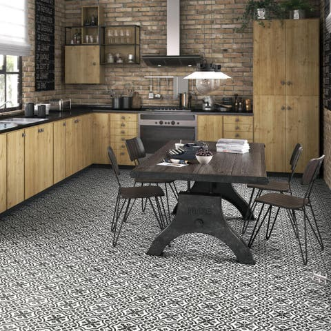 SomerTile 17.625x17.625-inch Tudor Charcoal Brown Ceramic Floor and Wall Tile