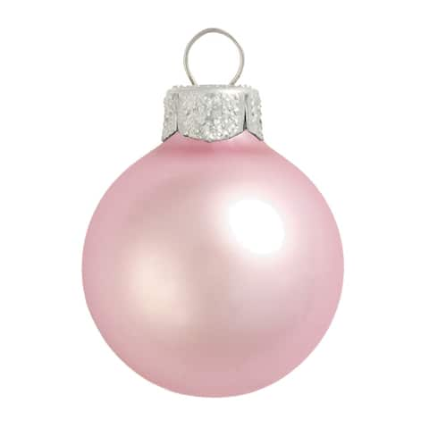 """4ct Matte Baby Pink Glass Ball Christmas Ornaments 3.25"""" (80mm)"""