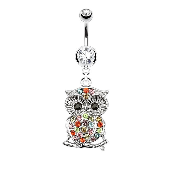 Owl Multi Color Gemmed on Branch Dangle Navel Belly Button Ring 316L Surgical Steel