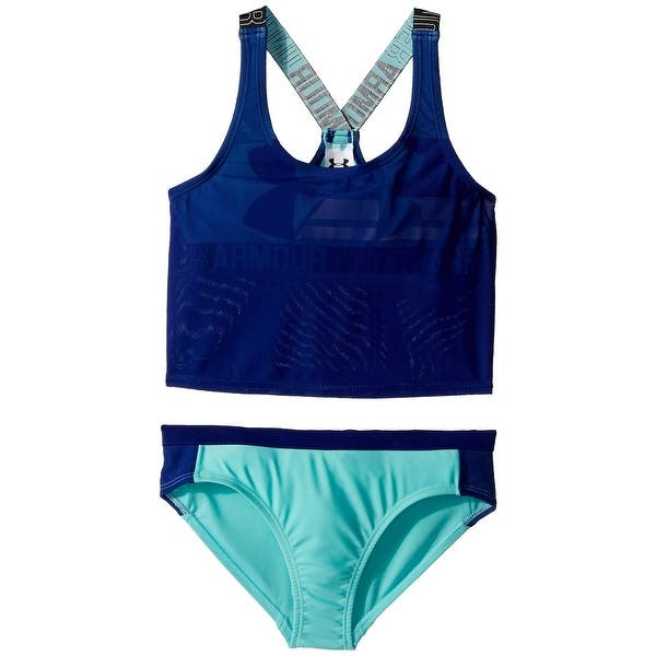 7af7a659201 Under Armour Blue Girls Size 16 Tankini Set Colorblock Swimwear
