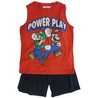 Super Mario Little Boys Red Cartoon Print Sleeveless Top 2 Pc Shorts Set 4-8