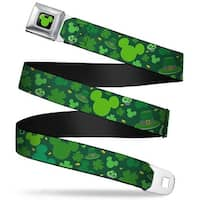 Mickey Silhouette Full Color Black Green St. Patrick's Day Mickey Collage Seatbelt Belt