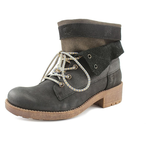 Coolway Brooks Women Round Toe Leather Black Boot