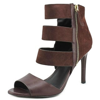 Charles David Itano Women Open-Toe Leather Burgundy Heels