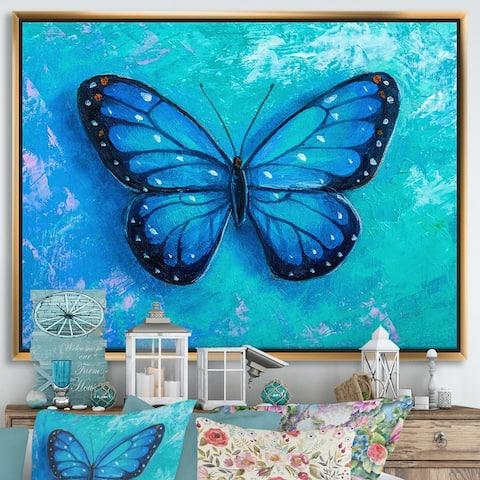 Designart 'Butterfly Portrait In Multicolors IV' Modern Framed Canvas Wall Art Print