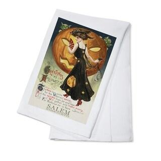 Salem MA - Halloween Witch Dance - Vintage Artwork (100% Cotton Towel Absorbent)