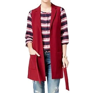 Tommy Hilfiger NEW Red Women's Size 18 Belted Open-Front Vest Jacket