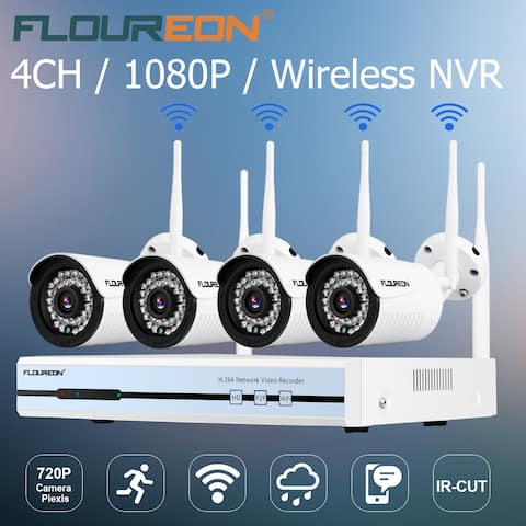 Floureon 4CH Wireless CCTV 1080P DVR Kit Outdoor Wifi WLAN 720P IP Camera Security Video Recorder NVR System