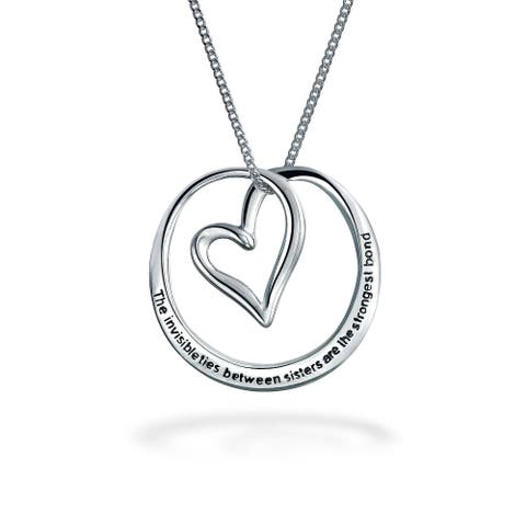 Sister Heart Pendant Necklace Sterling Silver Rose Gold Plated