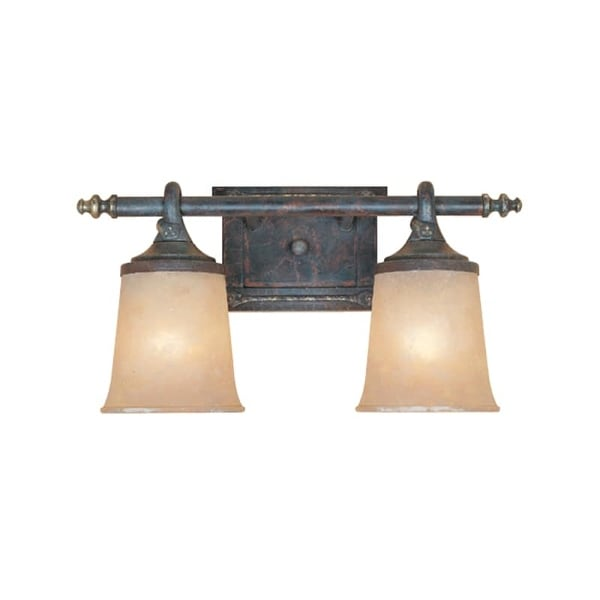 "Designers Fountain 97302 Two Light Down Lighting 17.5"" Wide Bathroom Fixture from the Austin Collection - weathered saddle"