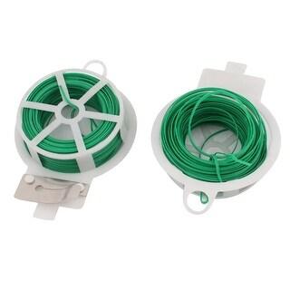 Unique Bargains 30Meters 98Ft Flexible Twist Tie Reel Plant Tie-Line Spool Green 2pcs