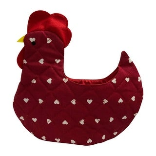 Organic Multipurpose Decorative Chicken Shaped Fabric Egg Storage Basket - Red with White Heart Design