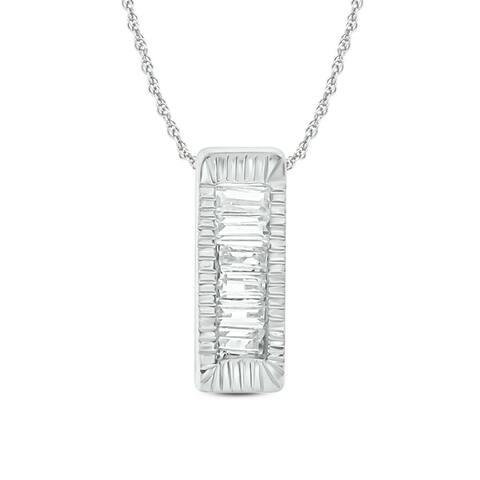 Cali Trove 1/20 ct Round Baguette White Diamond 14K White Yellow Rose Gold Fashion Bar Pendant for Women