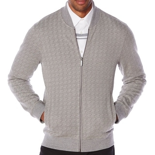 Perry Ellis NEW Gray Men's Size Large L Textured Full Zip Sweater
