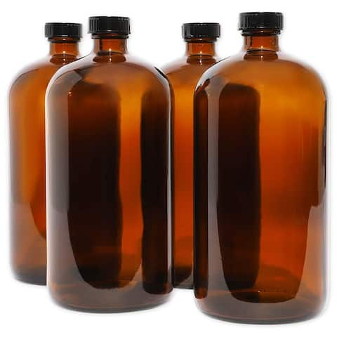 32oz Amber Glass Bottles with Black Caps Perfect for Essential Oils, 4 Pack - 4 Pack