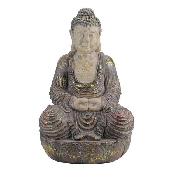 "22"" Brown and Beige Meditating Buddha Outdoor Garden Statue - N/A"