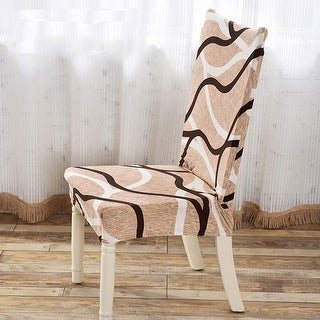 Unique Bargains Brown Coffee Removable Elastic Short Dining Chair Cover
