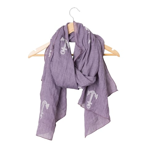 Tickled Pink Embroidered Anchors Scarf