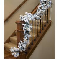 """9' x 10"""" Pre-lit Heavily Flocked Pine Artificial Christmas Garland - Clear Lights"""