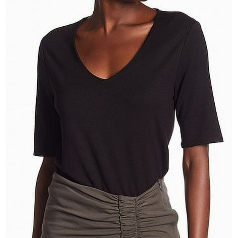 Gibson Women's V-Neck T-Shirt Elbow Sleeve Black Size Large L Knit Top
