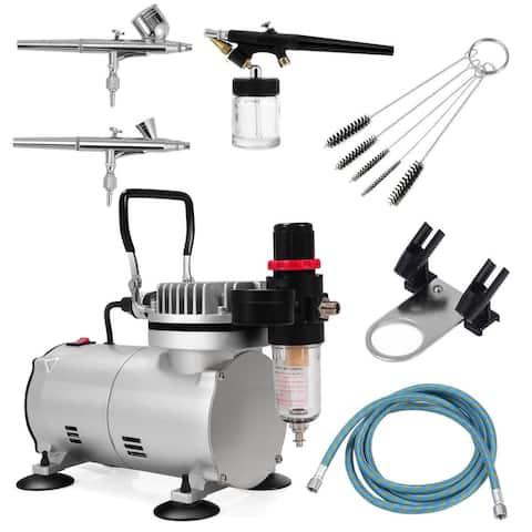 Costway 3 Airbrush Compressor Kit Dual-Action Spray Air Brush Set
