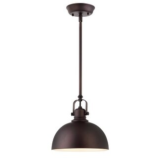 Canarm Polo 1 Light Rod Pendant in Oil Rubbed Bronze with White Interior