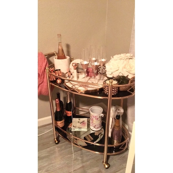 shop metropolitan rose gold metal mobile bar cart with black glass top by inspire q bold on sale free shipping today overstockcom 13057344 - Rose Gold Bar Cart