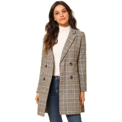 Women 2 Breasted Plaid Blazer Outwear Wales Checks Long Jacket Coat