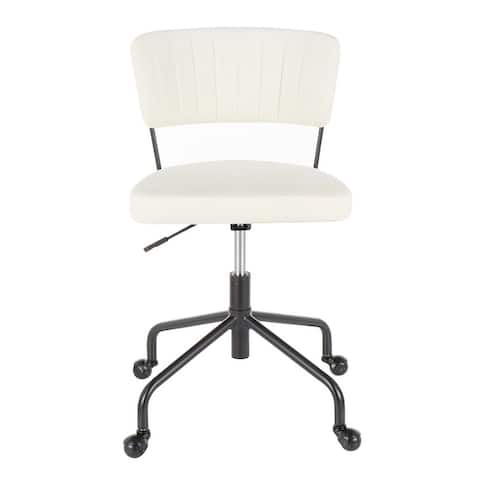 Tania Task Chair in Black Metal & Velvet - N/A