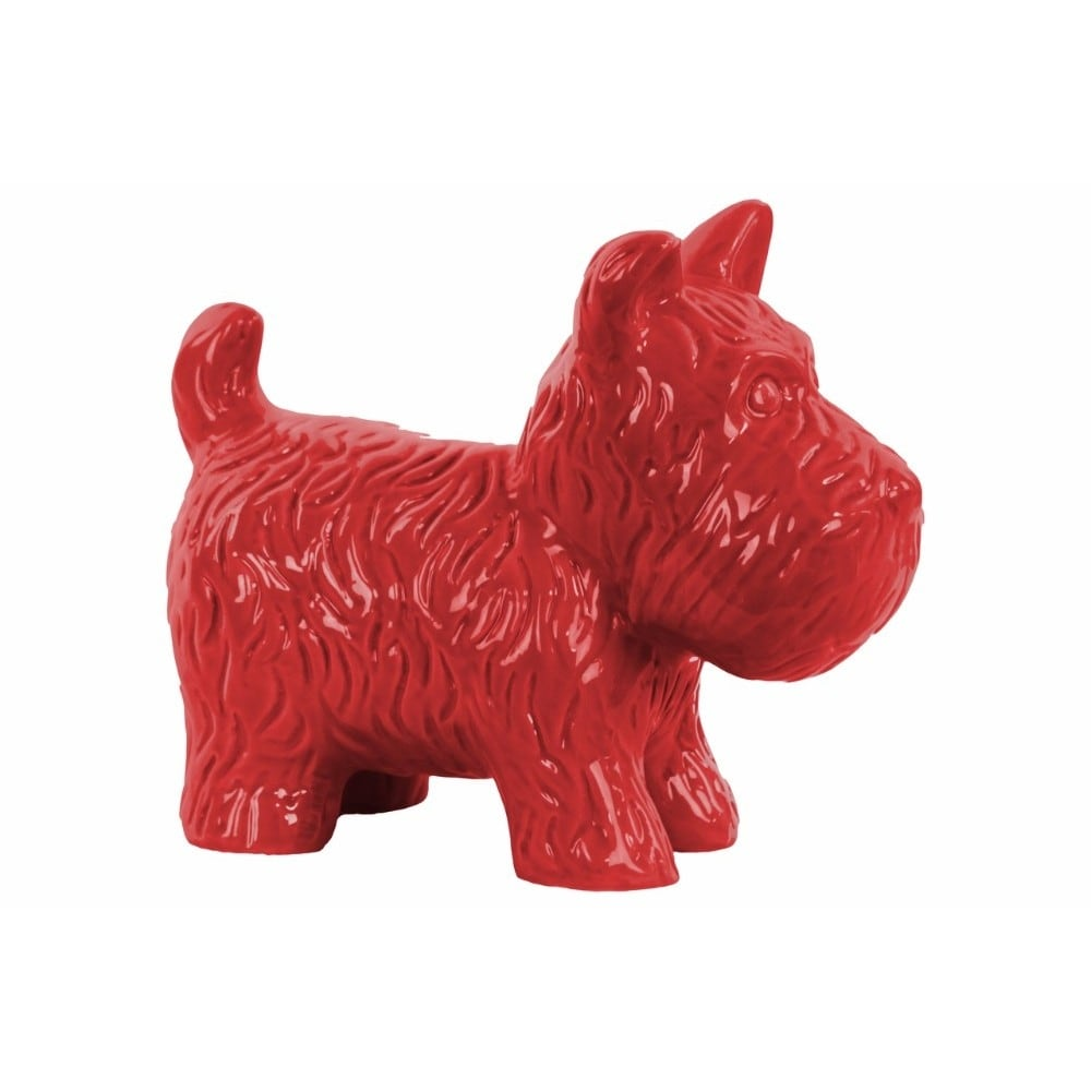Ceramic Standing Welsh Terrier Dog Figurine, Glossy Red