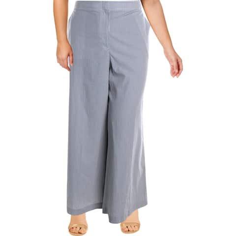 Lafayette 148 New York Womens Kensington Pants High Rise Pinstripe - Ash Multi