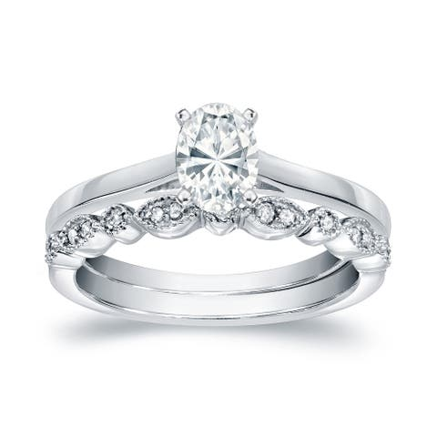 Auriya 14k Gold 3/4ctw Vintage Oval-cut Solitaire Diamond Engagement Ring Set