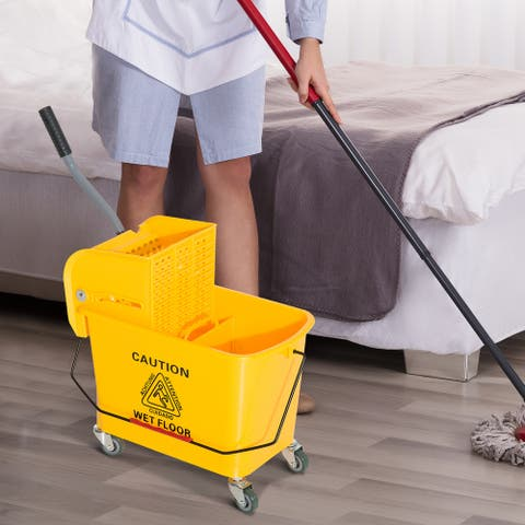 HomCom 5 Gallon Commercial Restaurant Janitorial Cleaning Rolling Industrial Mop Bucket With Down Press Wringer - 10.6*24.8*26.4