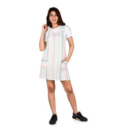 Oussum Womens Casual Dresses Striped Pattern Spaghetti Dress Jumpsuits Sleeveless Tops A Line Short Overalls Dungaree