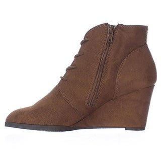 AMERICAN RAG AR35 Baylie Lace Up Wedge Booties - Chestnut