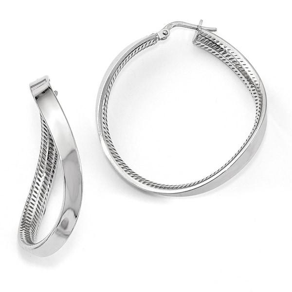 Italian Sterling Silver Rhodium-plated Hoop Fancy Earrings
