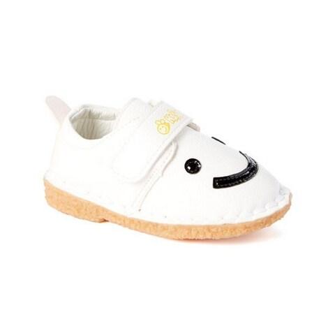 Little Girls Boys White Black Smiley Face Strap Sneakers 5-10 Toddler