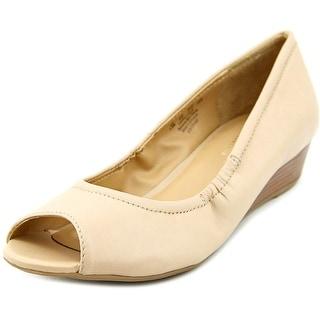 Naturalizer Contrast Women  Open Toe Leather Nude Wedge Heel