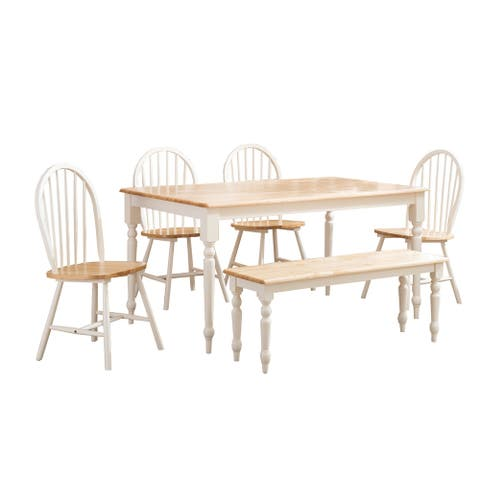 6 Piece Farmhouse Wooden Dining Set, White and Brown