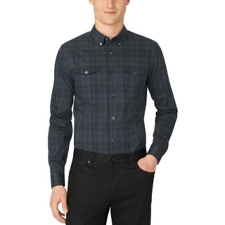 Calvin Klein Pondersosa Pine Green End on End Plaid Slim Fit Shirt