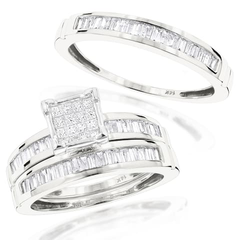Trio Set His & Hers Bridal Set Baguette & Princess Diamond Engagement Ring and Wedding Bands 1.6ctw in 14k Gold by Luxurman
