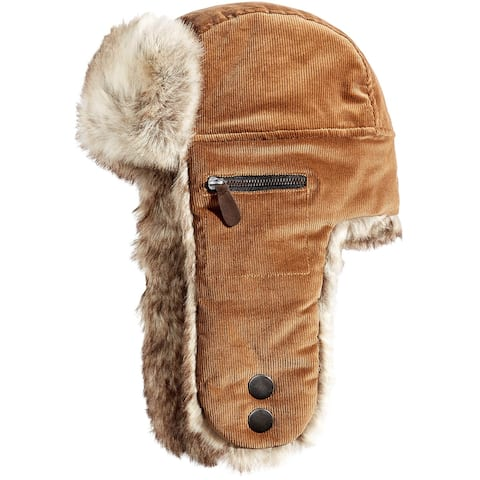 Woolrich Mens Faux Fur Corduroy Trooper Hat Medium Brown